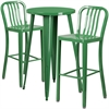 24'' Round Green Metal Indoor-Outdoor Bar Table Set with 2 Vertical Slat Back Barstools