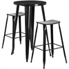 24'' Round Black Metal Indoor-Outdoor Bar Table Set with 2 Backless Saddle Seat Barstools