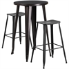 24'' Round Black-Antique Gold Metal Indoor-Outdoor Bar Table Set with 2 Distressed Backless Saddle Seat Barstools