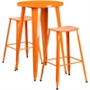 24'' Round Orange Metal Indoor-Outdoor Bar Table Set with 2 Backless Saddle Seat Barstools