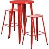 24'' Round Red Metal Indoor-Outdoor Bar Table Set with 2 Backless Saddle Seat Barstools