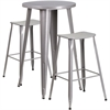 24'' Round Silver Metal Indoor-Outdoor Bar Table Set with 2 Backless Saddle Seat Barstools