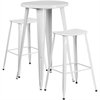 24'' Round White Metal Indoor-Outdoor Bar Table Set with 2 Backless Saddle Seat Barstools