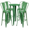 24'' Round Green Metal Indoor-Outdoor Bar Table Set with 4 Cafe Barstools