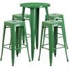 24'' Round Green Metal Indoor-Outdoor Bar Table Set with 4 Square Seat Backless Barstools