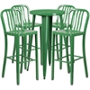 Flash Furniture 24'' Round Green Metal Indoor-Outdoor Bar Table Set with 4 Vertical Slat Back Barstools