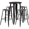 Flash Furniture 24'' Round Black-Antique Gold Metal Indoor-Outdoor Bar Table Set with 4 Distressed Backless Saddle Seat Barstools