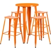 24'' Round Orange Metal Indoor-Outdoor Bar Table Set with 4 Backless Saddle Seat Barstools