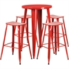 24'' Round Red Metal Indoor-Outdoor Bar Table Set with 4 Backless Saddle Seat Barstools