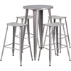 24'' Round Silver Metal Indoor-Outdoor Bar Table Set with 4 Backless Saddle Seat Barstools