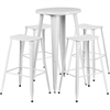 24'' Round White Metal Indoor-Outdoor Bar Table Set with 4 Backless Saddle Seat Barstools