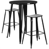 30'' Round Black Metal Indoor-Outdoor Bar Table Set with 2 Backless Saddle Seat Barstools