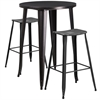 30'' Round Black-Antique Gold Metal Indoor-Outdoor Bar Table Set with 2 Distressed Backless Saddle Seat Barstools