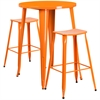30'' Round Orange Metal Indoor-Outdoor Bar Table Set with 2 Backless Saddle Seat Barstools