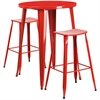 30'' Round Red Metal Indoor-Outdoor Bar Table Set with 2 Backless Saddle Seat Barstools