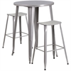 30'' Round Silver Metal Indoor-Outdoor Bar Table Set with 2 Backless Saddle Seat Barstools