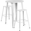 30'' Round White Metal Indoor-Outdoor Bar Table Set with 2 Backless Saddle Seat Barstools