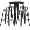 30'' Round Black Metal Indoor-Outdoor Bar Table Set with 4 Backless Saddle Seat Barstools