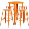 30'' Round Orange Metal Indoor-Outdoor Bar Table Set with 4 Backless Saddle Seat Barstools