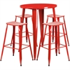 30'' Round Red Metal Indoor-Outdoor Bar Table Set with 4 Backless Saddle Seat Barstools
