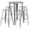 30'' Round Silver Metal Indoor-Outdoor Bar Table Set with 4 Backless Saddle Seat Barstools
