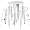 Flash Furniture 30'' Round White Metal Indoor-Outdoor Bar Table Set with 4 Backless Saddle Seat Barstools