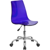 Contemporary Transparent Blue Acrylic Task Chair with Chrome Base