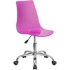 Contemporary Transparent Hot Pink Acrylic Task Chair with Chrome Base