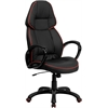 Flash Furniture High Back Black Vinyl Executive Swivel Office Chair with Red Piping Border