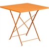 Flash Furniture 28'' Square Orange Indoor-Outdoor Steel Folding Patio Table