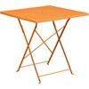 28'' Square Orange Indoor-Outdoor Steel Folding Patio Table