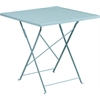 Flash Furniture 28'' Square Sky Blue Indoor-Outdoor Steel Folding Patio Table