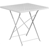 28'' Square White Indoor-Outdoor Steel Folding Patio Table