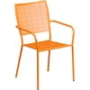 Orange Indoor-Outdoor Steel Patio Arm Chair with Square Back