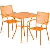 Flash Furniture 28'' Square Orange Indoor-Outdoor Steel Patio Table Set with 2 Square Back Chairs