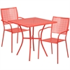 Flash Furniture 28'' Square Coral Indoor-Outdoor Steel Patio Table Set with 2 Square Back Chairs
