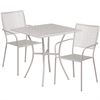 28'' Square Light Gray Indoor-Outdoor Steel Patio Table Set with 2 Square Back Chairs