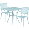 28'' Square Sky Blue Indoor-Outdoor Steel Patio Table Set with 2 Square Back Chairs