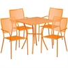 Flash Furniture 28'' Square Orange Indoor-Outdoor Steel Patio Table Set with 4 Square Back Chairs