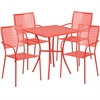 Flash Furniture 28'' Square Coral Indoor-Outdoor Steel Patio Table Set with 4 Square Back Chairs