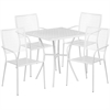 Flash Furniture 28'' Square White Indoor-Outdoor Steel Patio Table Set with 4 Square Back Chairs