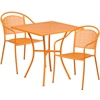 28'' Square Orange Indoor-Outdoor Steel Patio Table Set with 2 Round Back Chairs