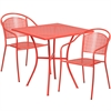 Flash Furniture 28'' Square Coral Indoor-Outdoor Steel Patio Table Set with 2 Round Back Chairs
