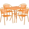 Flash Furniture 28'' Square Orange Indoor-Outdoor Steel Patio Table Set with 4 Round Back Chairs