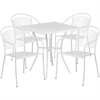 28'' Square White Indoor-Outdoor Steel Patio Table Set with 4 Round Back Chairs