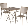 28'' Square Gold Indoor-Outdoor Steel Folding Patio Table Set with 2 Square Back Chairs