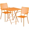28'' Square Orange Indoor-Outdoor Steel Folding Patio Table Set with 2 Square Back Chairs