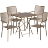 Flash Furniture 28'' Square Gold Indoor-Outdoor Steel Folding Patio Table Set with 4 Square Back Chairs