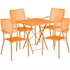 28'' Square Orange Indoor-Outdoor Steel Folding Patio Table Set with 4 Square Back Chairs