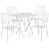 Flash Furniture 28'' Square White Indoor-Outdoor Steel Folding Patio Table Set with 4 Square Back Chairs